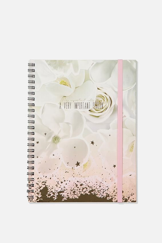 A5 Spinout Notebook Recycled, WHITE FLORAL