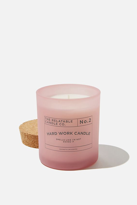 Relatable Quote Candle, PLASTIC PINK NOT DOING IT