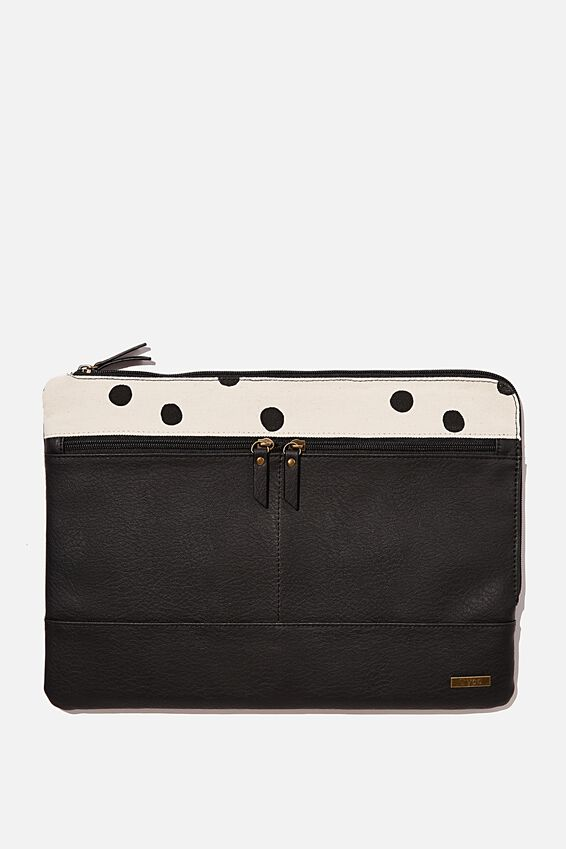 Oxford 13 Laptop Canvas PU Case, JETT BLACK & OVERSIZED POLKA