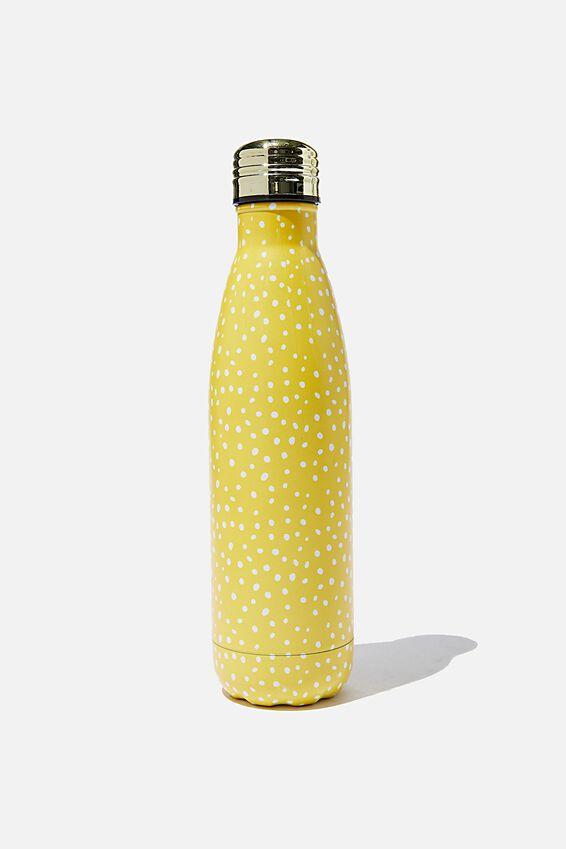 Metal Drink Bottle, MUSTARD POLKA