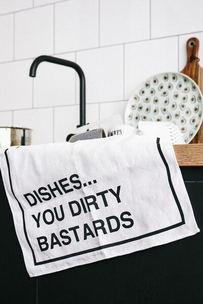 Tea Towel, DIRTY DISHES