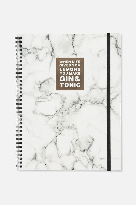A4 Spinout Notebook - 120 Pages, MARBLE GIN!