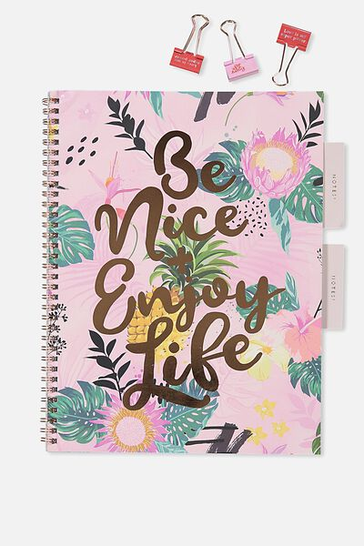 A4 Spinout Notebook - 120 Pages, BE NICE ENJOY LIFE
