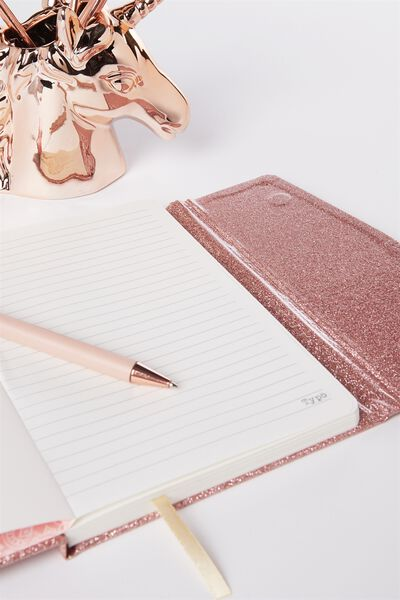 A5 Magnetic Close Journal, ROSE GOLD GLITTER