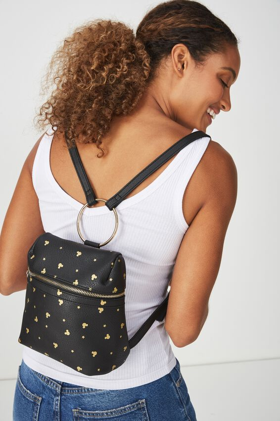 Mickey Mouse Micro Backpack, LCN MICKEY BLACK DITSY PRINT