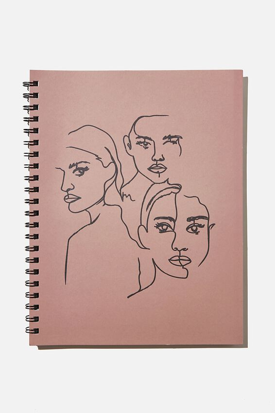 A4 Campus Notebook Recycled, GIRL GROUP LINE ART