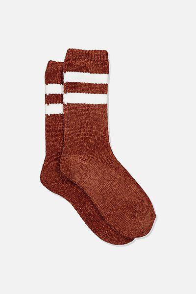 Textured Socks, CHENILLE STRIPE