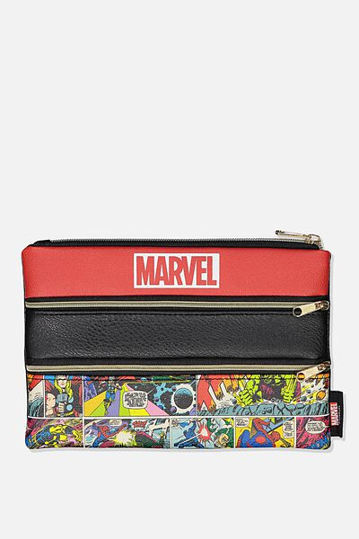 Double Archer Pencil Case, LCN MARVEL LOGO COMIC YARDAGE