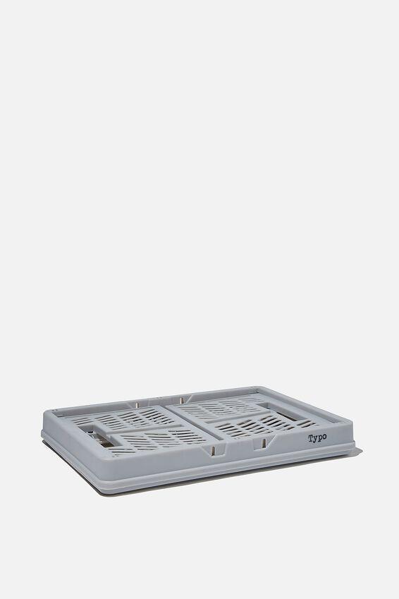 Midi Foldable Storage Crate, COOL GREY