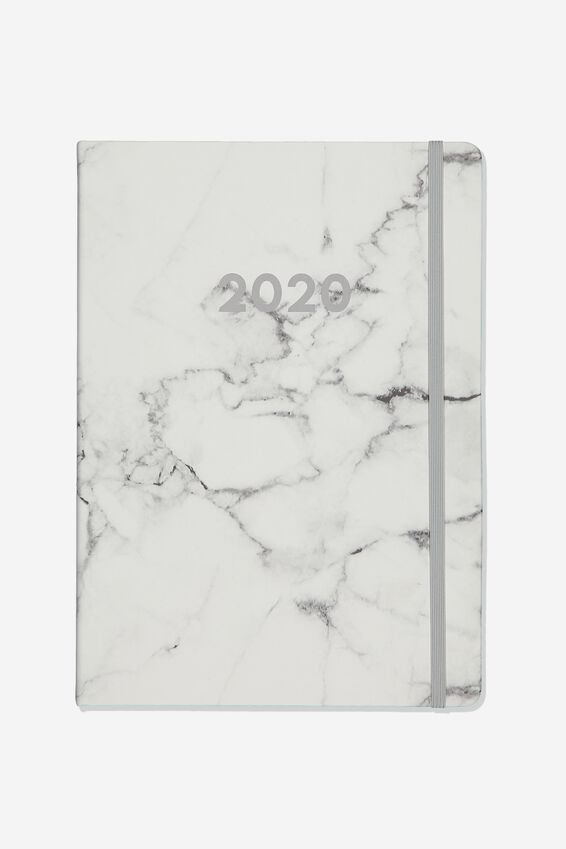 2020 A4 Daily Buffalo Diary, WHITE MARBLE