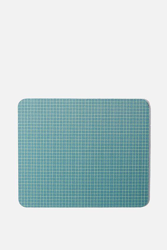 Neoprene Mouse Pad, DEEP GREEN GRID