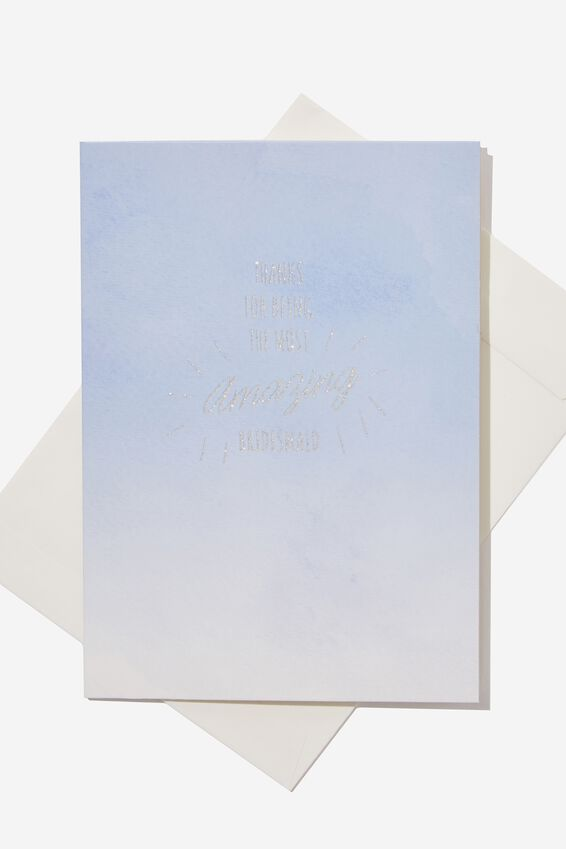 Bridesmaid Card, THANKS BLUE OMBRE