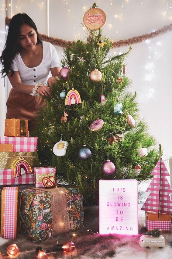 Glass Christmas Ornament, COOL RAINBOW