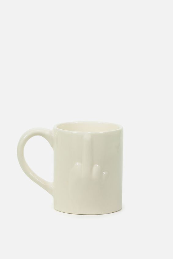 Novelty Shaped Mug, PRESS  OUT MIDDLE FINGER!