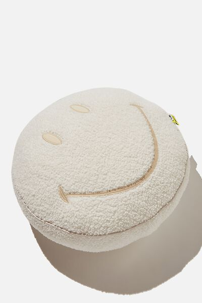 Boucle Get Cushy Cushion, LCN SMI SMILEY ECRU