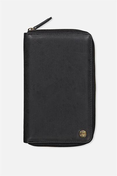 Rfid Odyssey Travel Compendium Wallet, BLACK