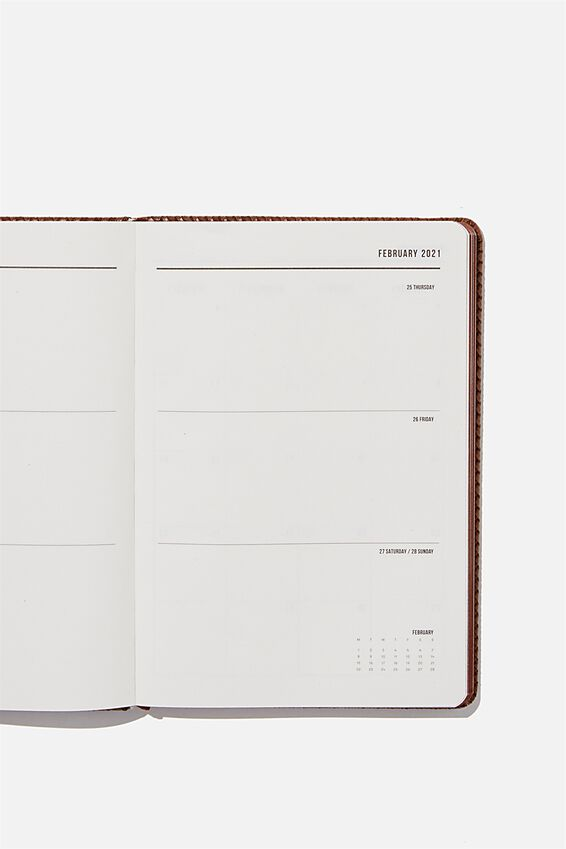 2021 A5 Weekly Buffalo Diary, BROWN BASKET WEAVE