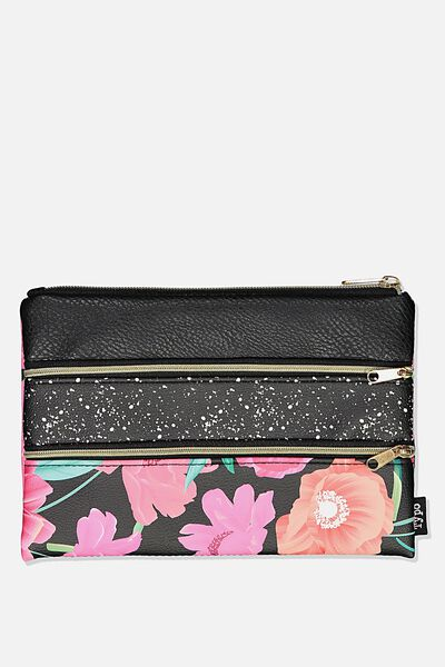 Double Archer Pencil Case, WILD PEONY FLORAL