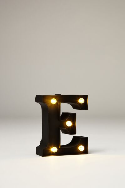 Mini Marquee Letter Lights 10cm, BLACK RUBBER E