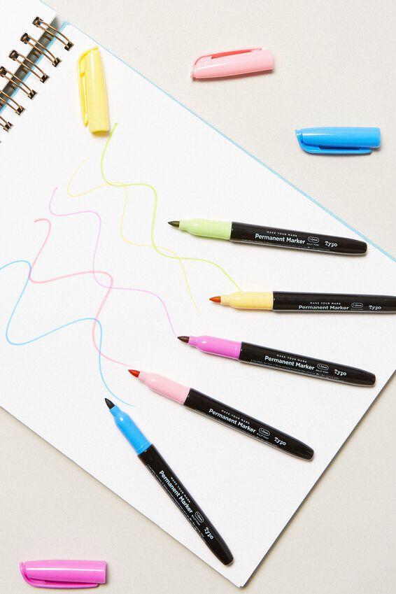 Make Your Mark Permanent Marker 5Pk, PASTELS