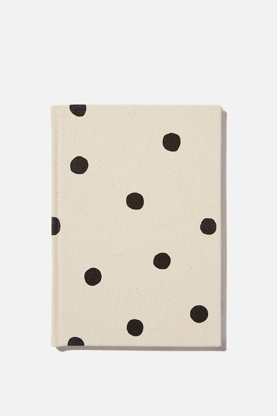 A5 Dot Oxford Notebook, ECRU OVERSIZED POLKA