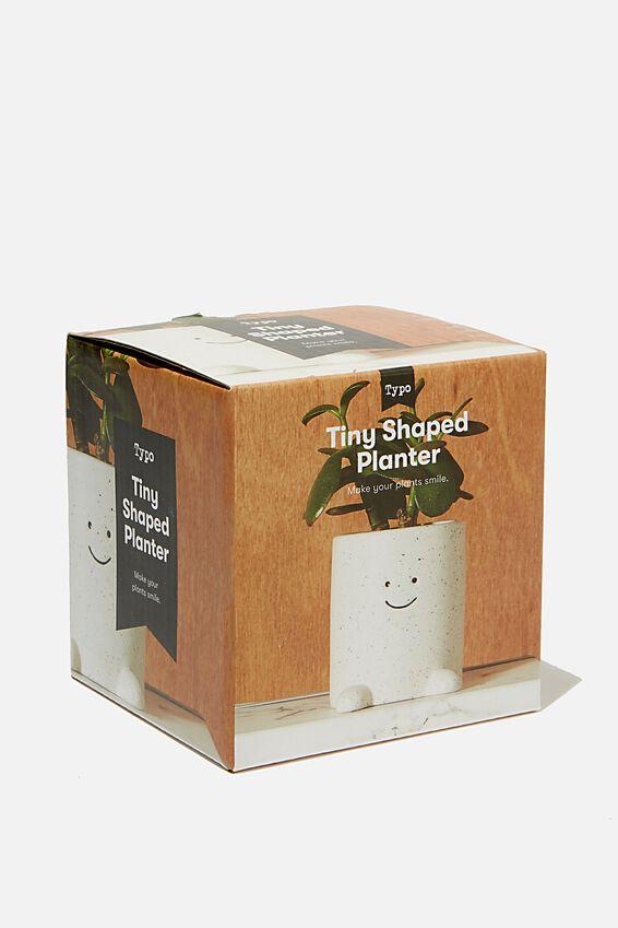 Tiny Shaped Planter, WHITE HAPPY