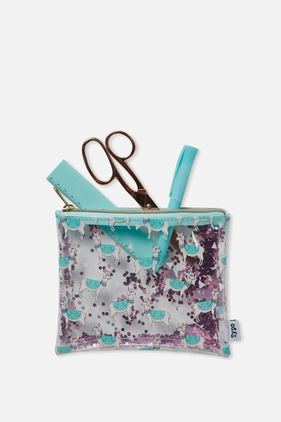 Clear It Pencil Case, PINK LLAMA