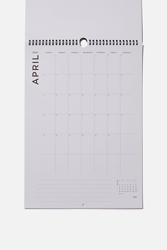 2021 A3 Art Series Calendar, MONTHLY REMINDERS