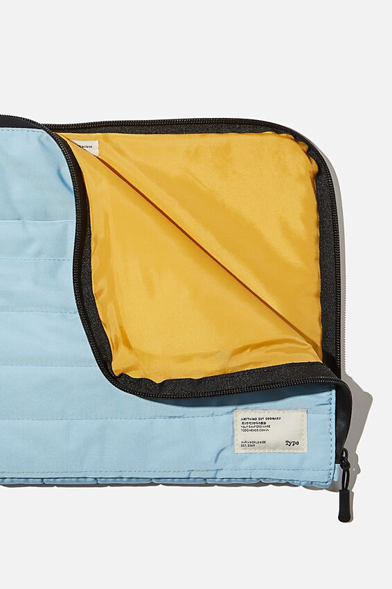 Utility Recycled 13 Inch Laptop Case, DENIM BLUE AND MUSTARD