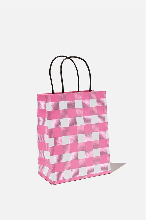 Get Stuffed Gift Bag - Small, PINK GINGHAM SMALL