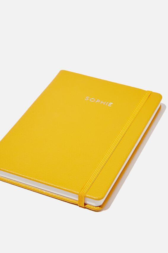 Personalised A5 Buffalo Journal, MUSTARD