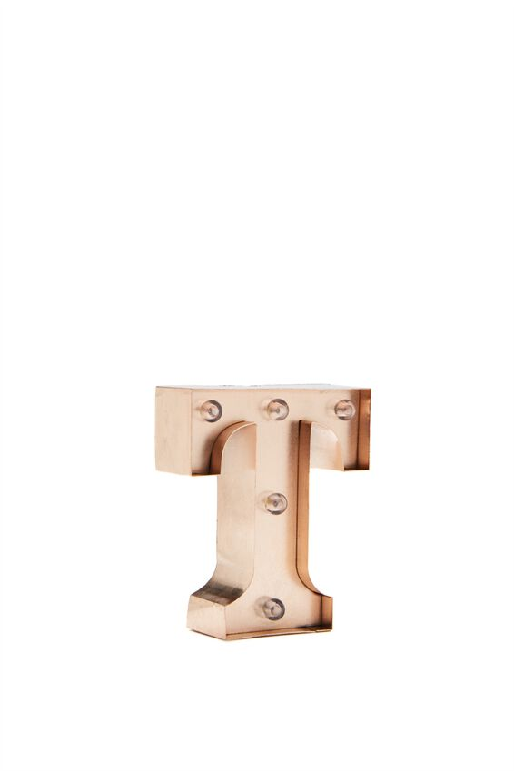 Mini Marquee Letter Lights 10cm, ROSE GOLD T