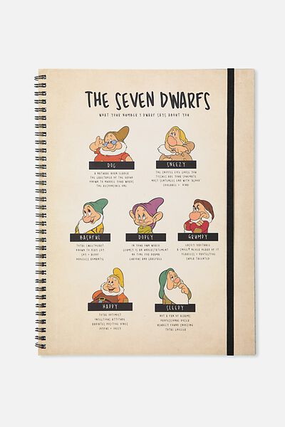 A4 Spinout Notebook - 120 Pages, LCN SNOW WHITE 7 DWARVES
