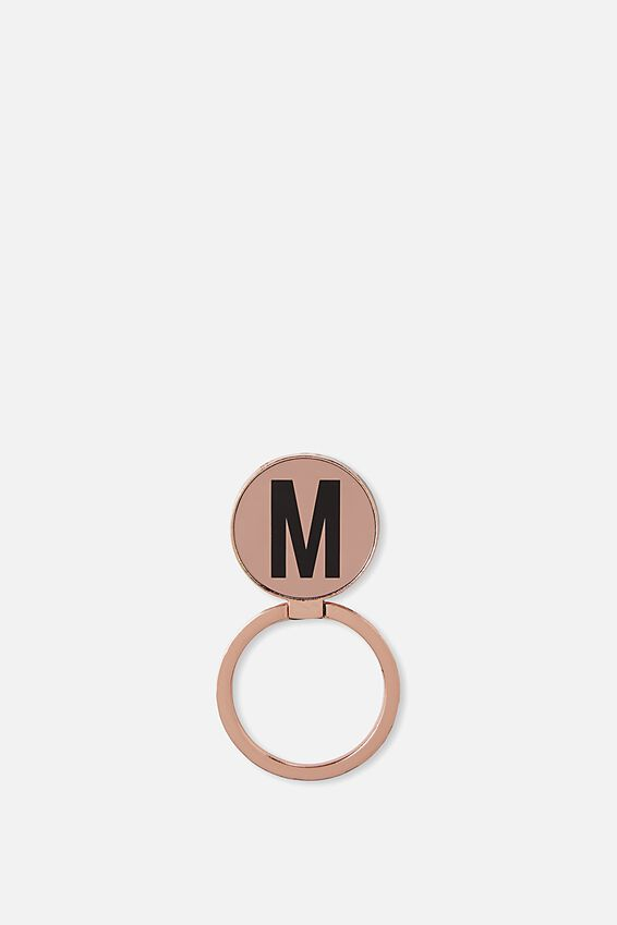 Metal Alpha Phone Ring, ROSE GOLD M