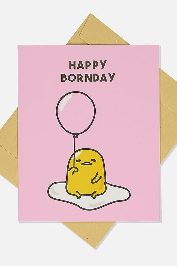 Gudetama Funny Birthday Card, LCN SAN GUD HAPPY BORNDAY