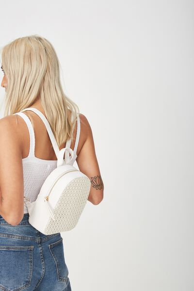 Mini Arch Backpack, WHITE WEAVE
