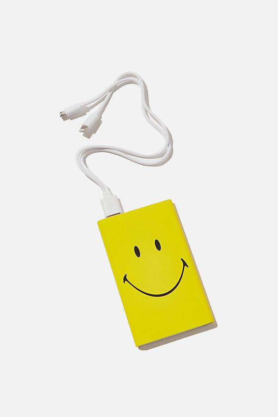 Smiley Printed Charge It Charger, LCN SMILEY YELLOW FACE