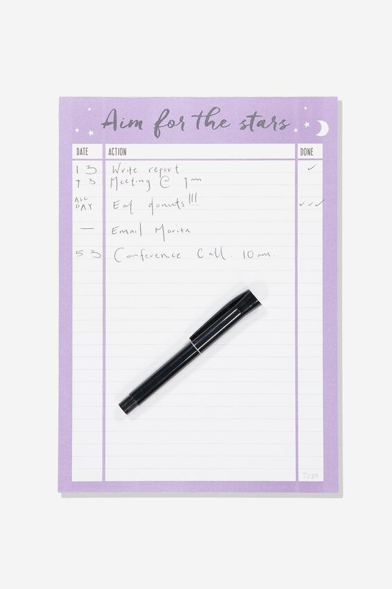 A4 Plan Ahead Planner, AIM FOR THE STARS LILAC