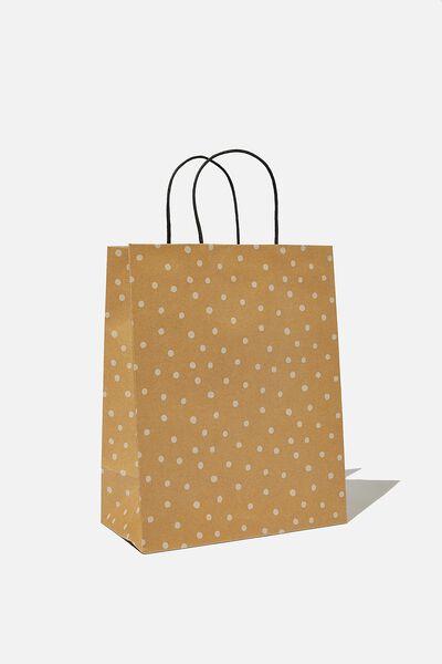 Get Stuffed Gift Bag - Medium, KRAFT WHITE SPOT
