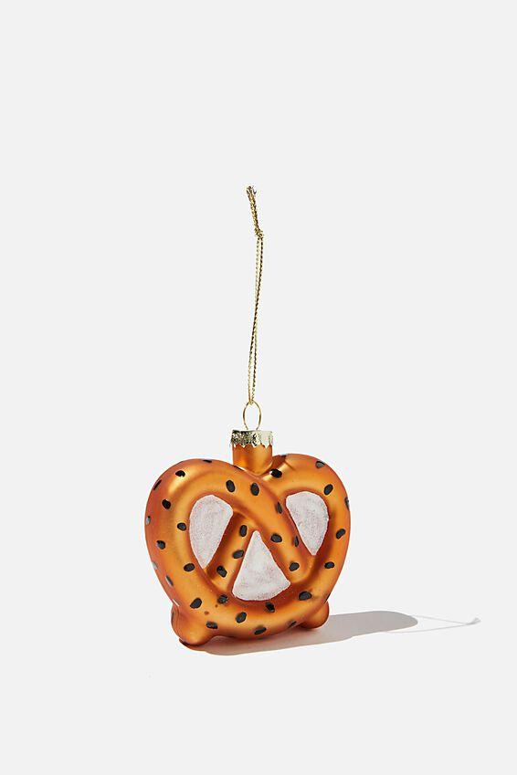 Small Glass Christmas Ornament, GLITTER PRETZEL