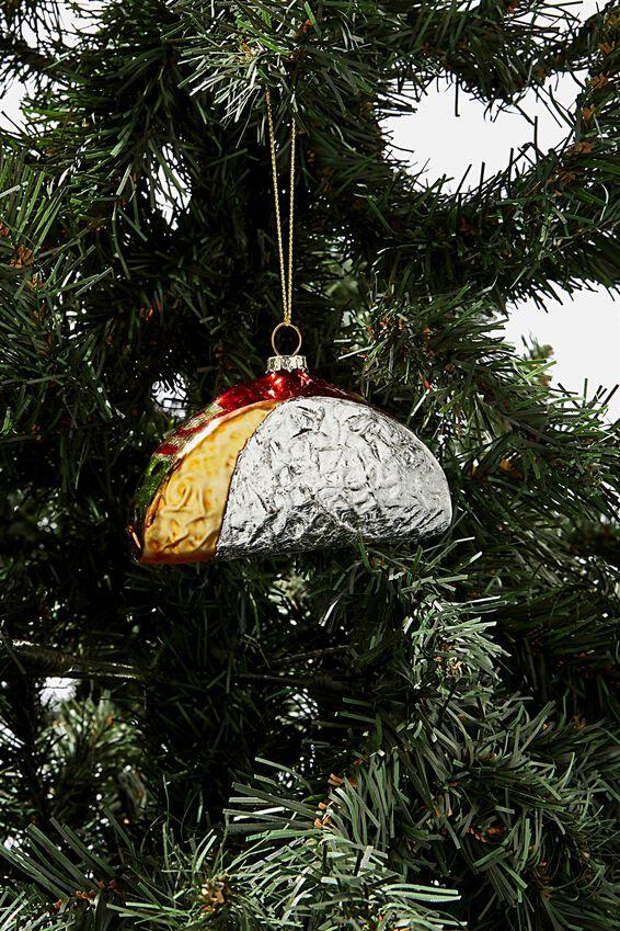 Small Glass Christmas Ornament, TACO