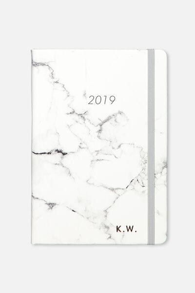 Personalised 2019 A4 Weekly Buffalo Diary, GREY MARBLE