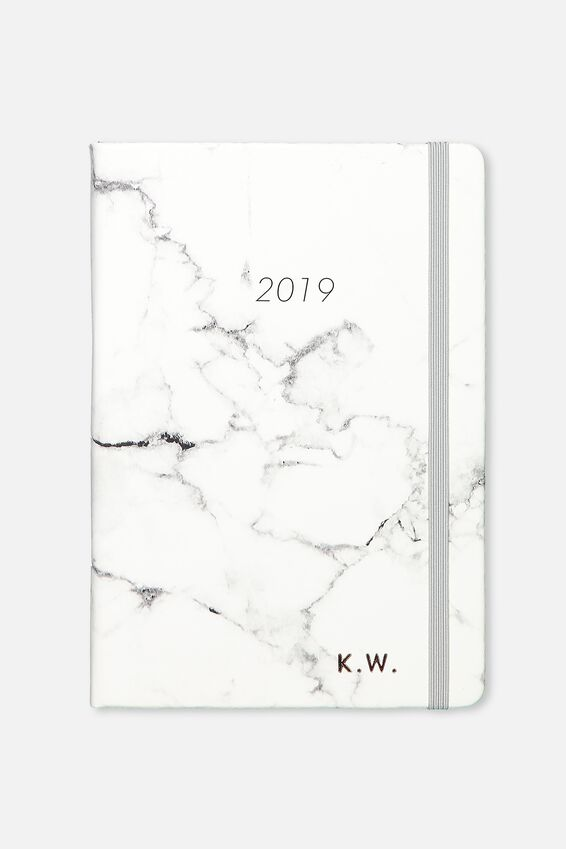 Personalised 2019 A4 Weekly Buffalo Diary, GREY MARBLE