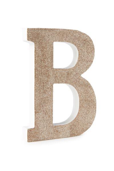 Glitter Letterpress Letter Pale Gold B