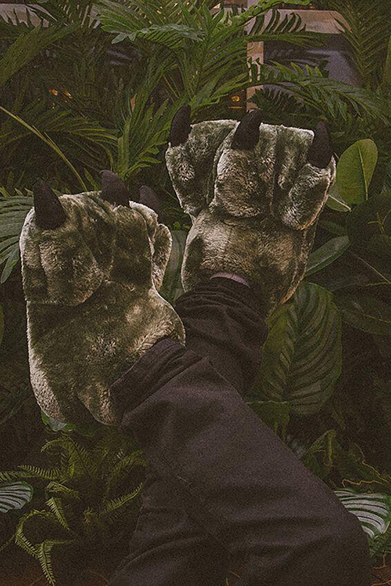 Novelty Slippers, GREEN DINO FEET