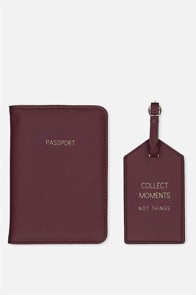 Passport Holder & Luggage Tag Set, BURGUNDY