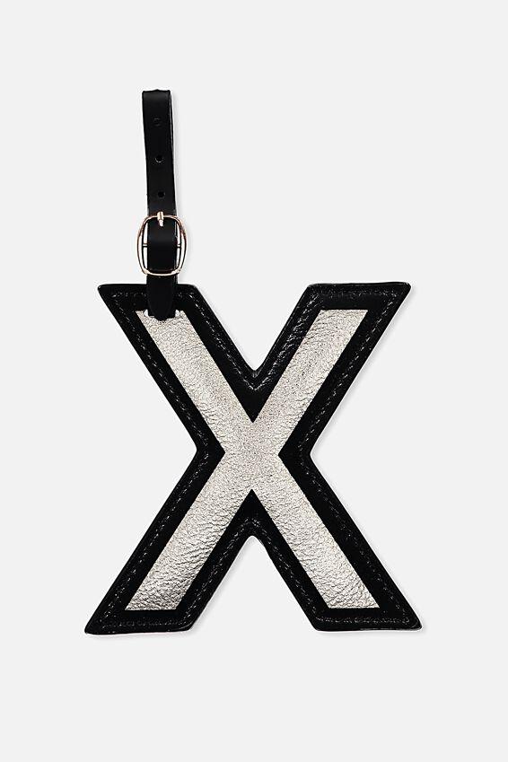 Shaped Alphabet Luggage Tag, X