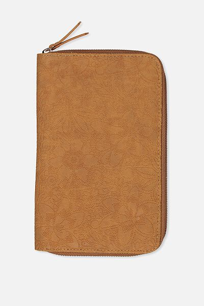 Passport wallets travel organisers typo odyssey travel compendium mid tan floral embossed gumiabroncs Image collections
