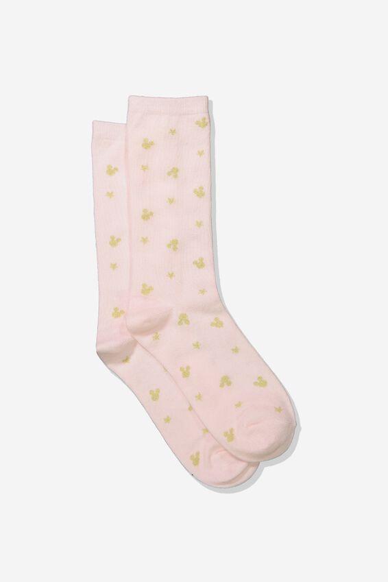 Disney Womens Novelty Socks, LCN GOLD MICKEY HEADS