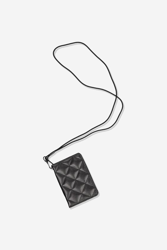 Utility Cardholder W/Lanyard, BLACK QUILTED